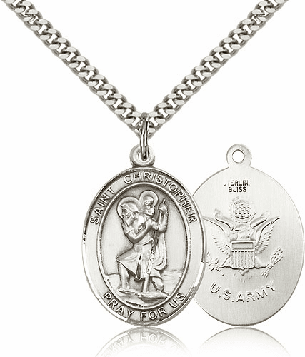 St Christopher Army Sterling Oval Saint Pendant Medal by Bliss