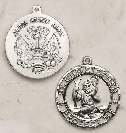 St. Christopher Army Sterling Silver Medal by Creed Jewelry