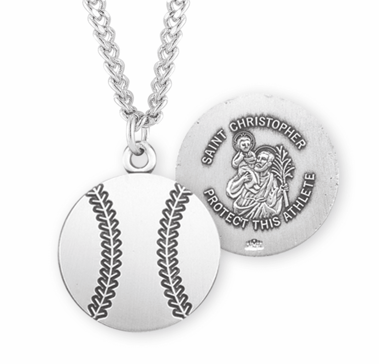 HMH Religious St Christopher Baseball Sports Necklace