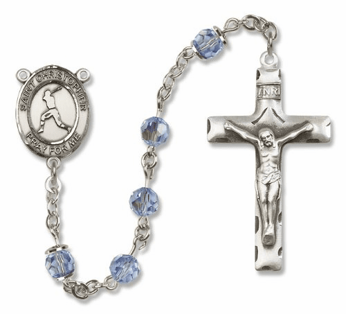 St Christopher Baseball Sterling Silver Sports Rosary by Bliss