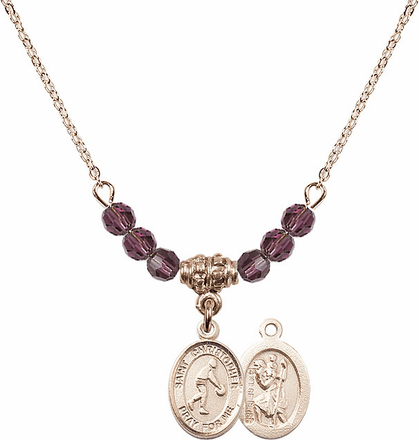 St Christopher Basketball 4mm Swarovski Crystal February Amethyst Necklace by Bliss Mfg