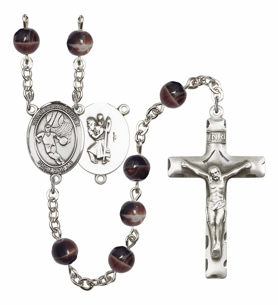 St Christopher Basketball 7mm Brown Gemstone Prayer Rosary by Bliss