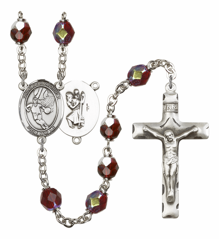 St Christopher Basketball 7mm Lock Link Aurora Borealis Garnet Rosary by Bliss Mfg