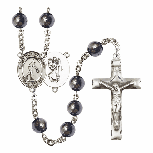 St Christopher Basketball 8mm Hematite Gemstone Prayer Rosary by Bliss