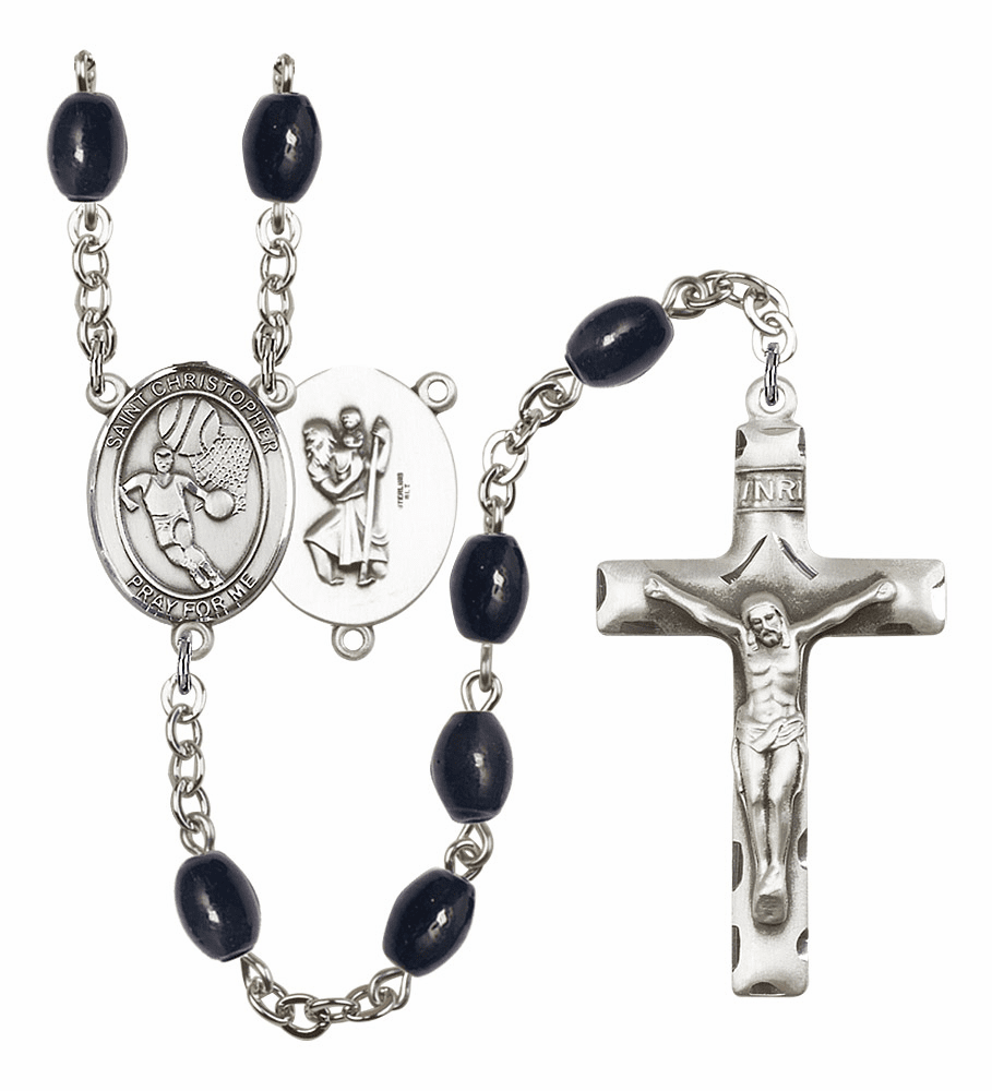 St Christopher Basketball 8x6mm Black Onyx Gemstone Prayer Rosary by Bliss