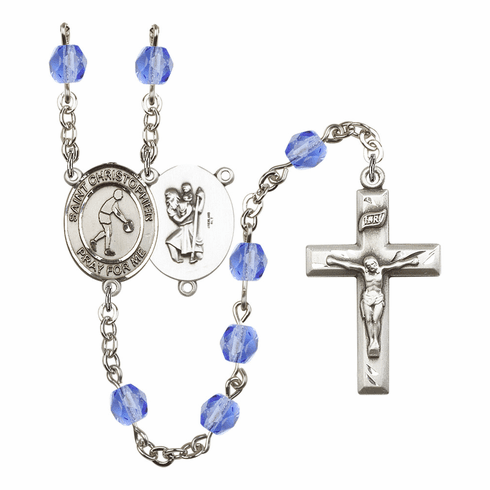 St Christopher Basketball Athlete Silver-Plated Birthstone Rosary