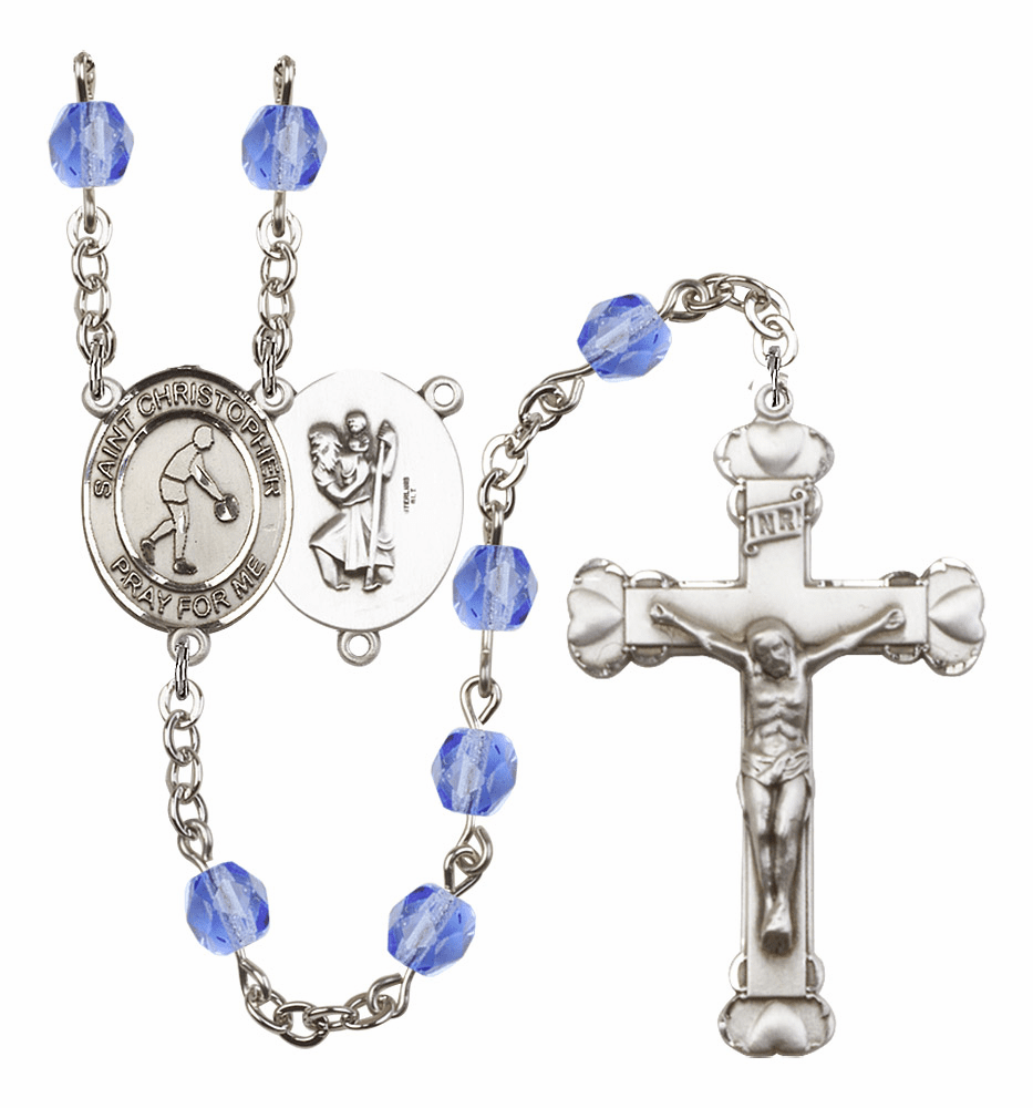 St Christopher Basketball Heart Crucifix Birthstone Fire Polished Crystal Prayer Rosary