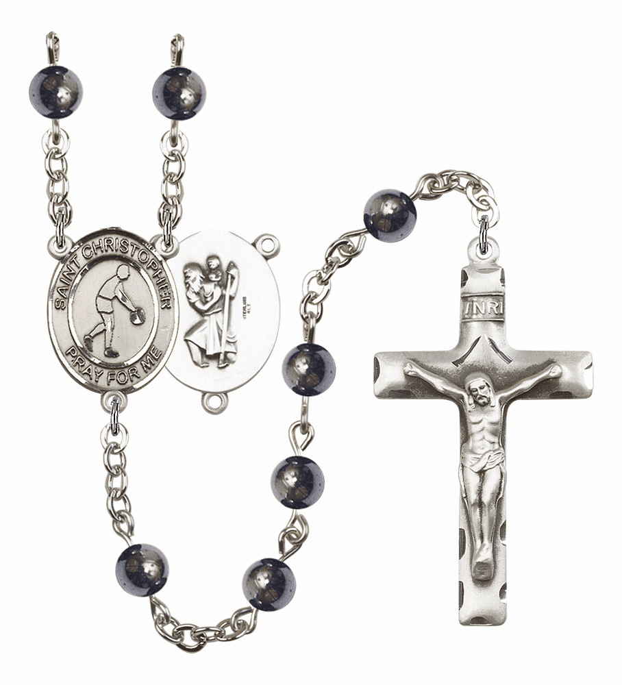 St Christopher Basketball Hematite Gemstone Prayer Rosary by Bliss Mfg