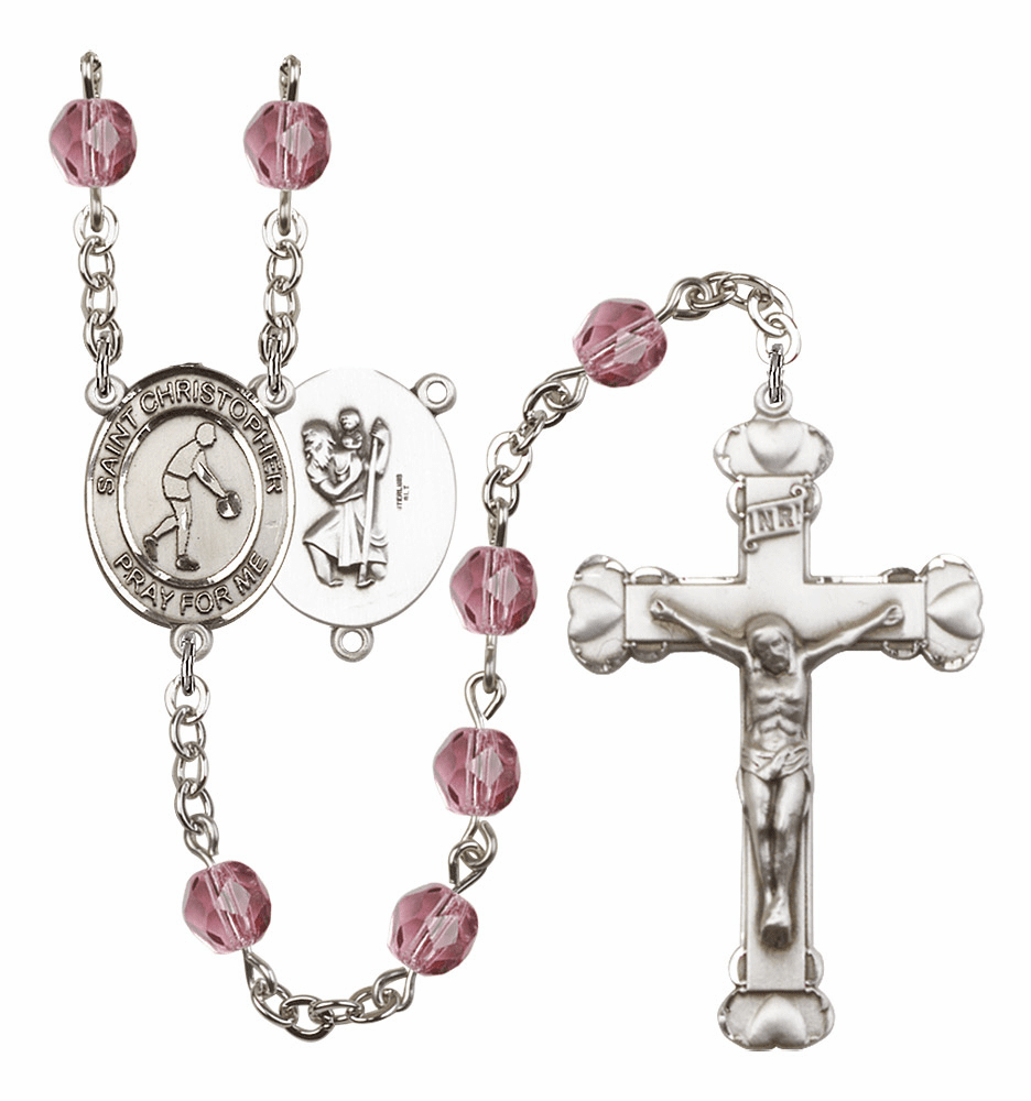 St Christopher Basketball Patron Saint Birthstone Fire Polished Crystal Prayer Rosary