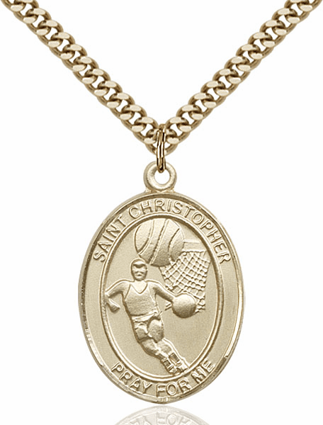 St Christopher Basketball Sports 14kt Gold-Filled Pendant Necklace by Bliss