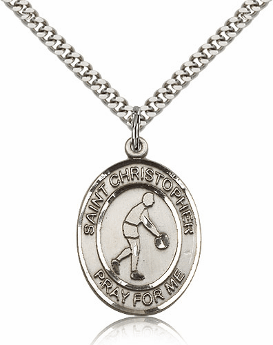 St Christopher Basketball Sports Sterling Silver Pendant Necklace by Bliss