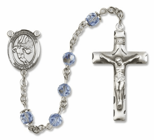 St Christopher Basketball Sterling Silver Sports Rosary
