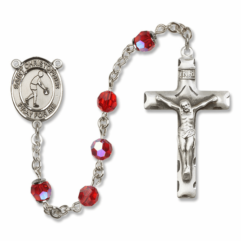 St Christopher Basketball Sterling Silver Sports Rosary by Bliss