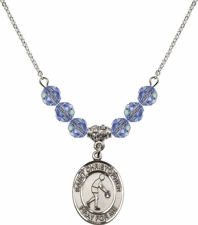 St Christopher Basketball Swarovski Crystal Beaded Patron Saint Necklace by Bliss Mfg