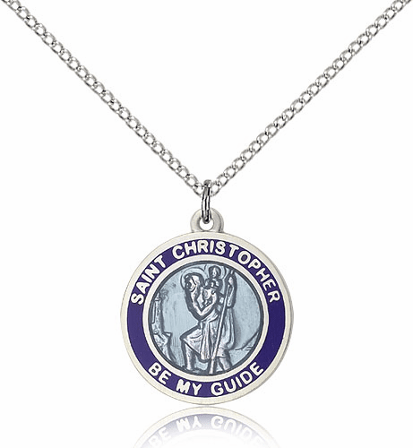 St Christopher Blue Enamel Patron Saint Necklace by Bliss