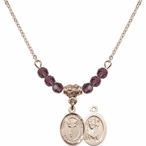 St Christopher Cheerleading 4mm Swarovski Crystal February Amethyst Necklace by Bliss Mfg