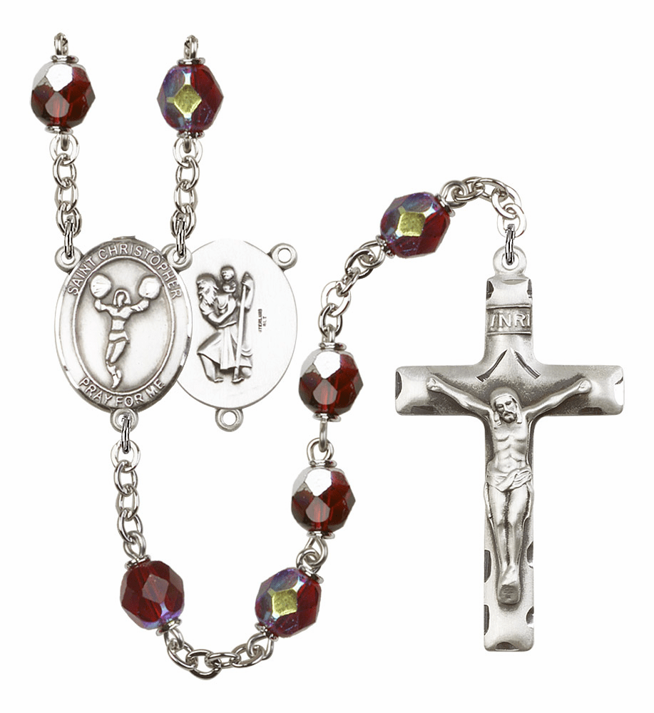 St Christopher Cheerleading 7mm Lock Link Aurora Borealis Garnet Rosary by Bliss Mfg