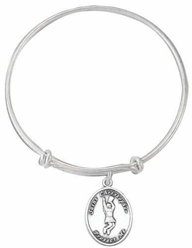 St Christopher Cheerleading Charm Silver Bangle Bracelet by Jeweled Cross
