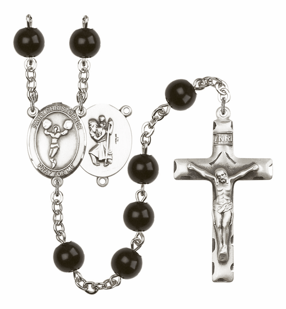 St Christopher Cheerleading Silver Plate 7mm Black Onyx  Prayer Rosary by Bliss