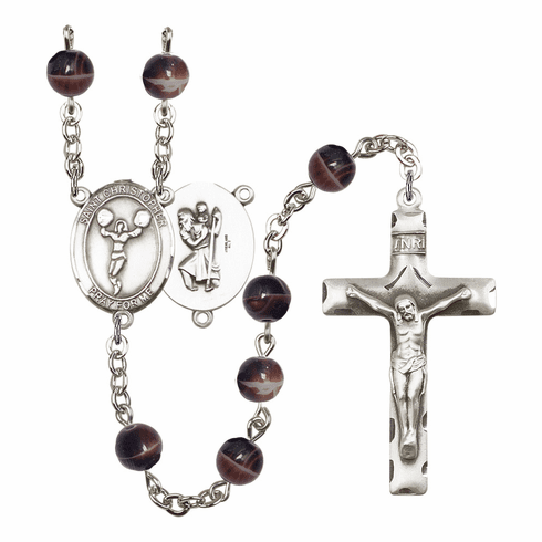 St Christopher Cheerleading 7mm Brown Gemstone Rosary by Bliss