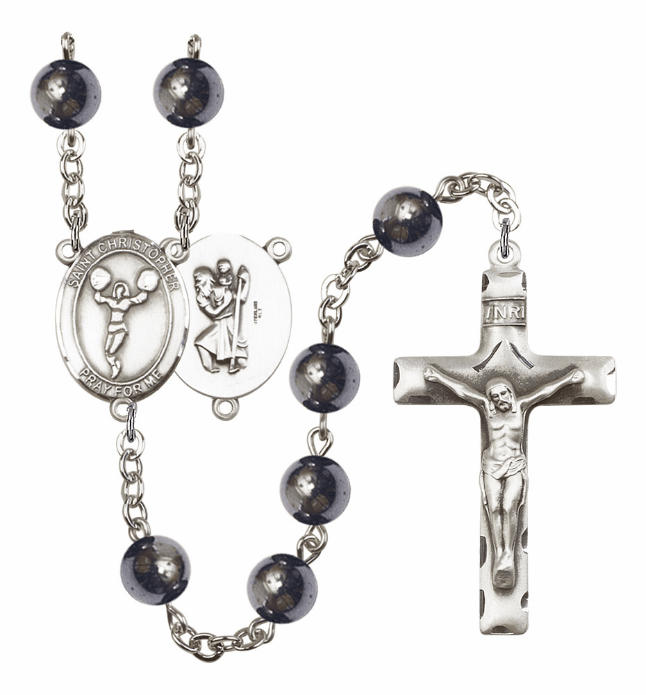 St Christopher Cheerleading Silver Plate 8mm Hematite Gemstone Prayer Rosary by Bliss