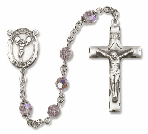 St Christopher Cheerleading Sterling Silver Sports Rosary