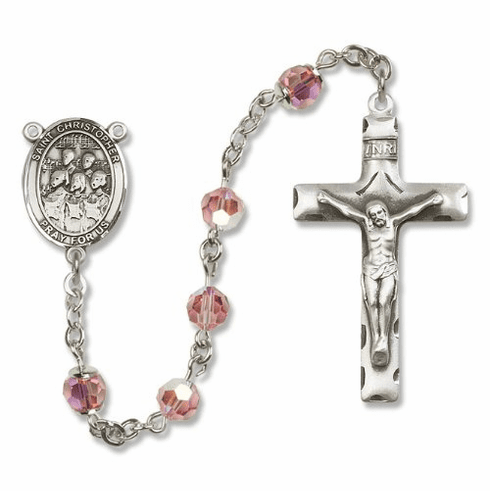St Christopher Choir Music Sterling Silver Rosary