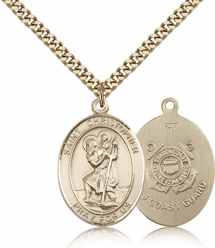 St Christopher Coast Guard Gold-Filled Oval Saint Pendant Medal by Bliss