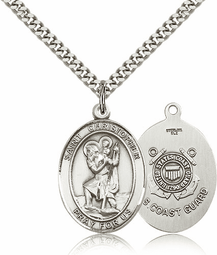 St Christopher Coast Guard Sterling Oval Saint Pendant Medal by Bliss