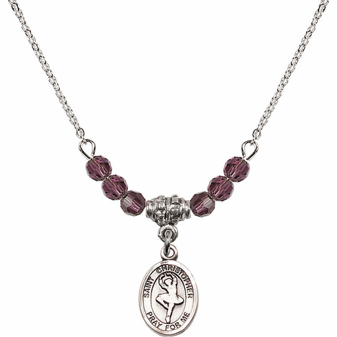 Bliss St Christopher Dance 4mm Crystal February Amethyst Necklace