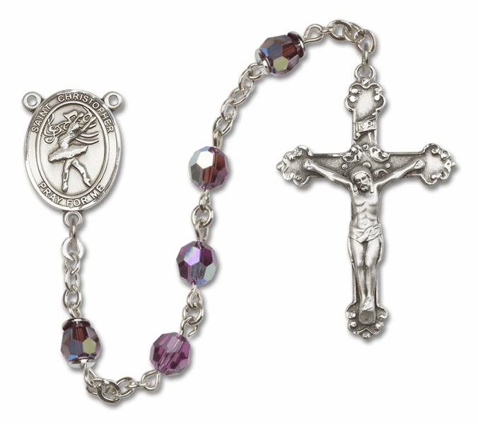 "St Christopher Dance Crystal Crystal Sterling, Gold-filled or 14kt Gold Rosaries ""More Options"""