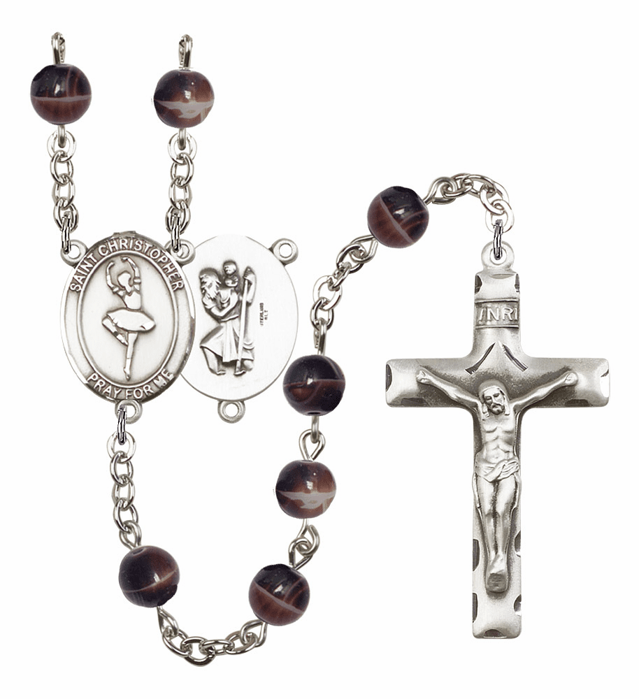 St Christopher Dance 7mm Brown Gemstone Rosary by Bliss