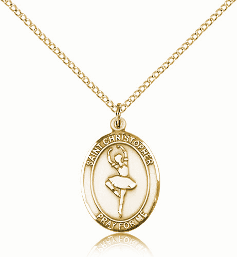 St Christopher Dance Sports 14kt Gold-Filled Pendant Necklace by Bliss