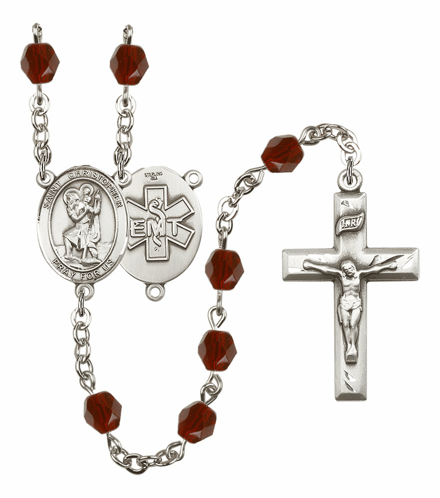 St Christopher EMT Birthstone Crystal Prayer Rosary by Bliss