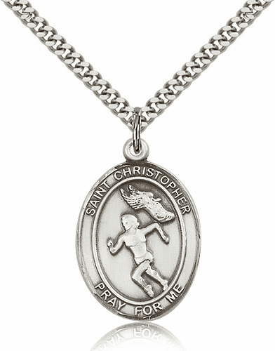 St Christopher Female Track & Field Sterling-Filled Patron Saint Medal by Bliss