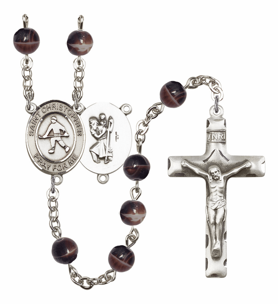St Christopher Field Hockey Silver Plate 7mm Brown Gemstone Prayer Rosary by Bliss