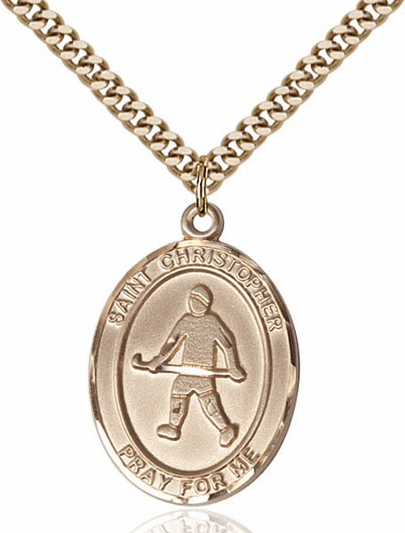 St Christopher Field Hockey Sports 14kt Gold-Filled Pendant Necklace by Bliss