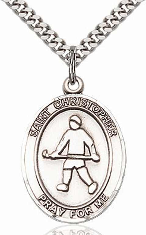 St Christopher Field Hockey Sports Sterling Silver Pendant Necklace by Bliss