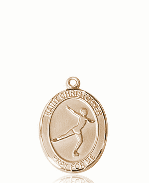 St Christopher Figure Skating 14kt Gold Sports Medal Pendant by Bliss