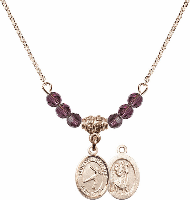 St Christopher Figure Skating 4mm Swarovski Crystal February Amethyst Necklace by Bliss Mfg