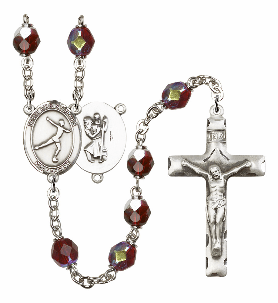 St Christopher Figure Skating 7mm Lock Link Aurora Borealis Garnet Beads Prayer Rosary by Bliss Mfg