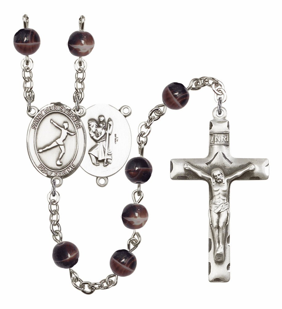 St Christopher Figure Skating Silver Plate 7mm Brown Gemstone Prayer Rosary by Bliss