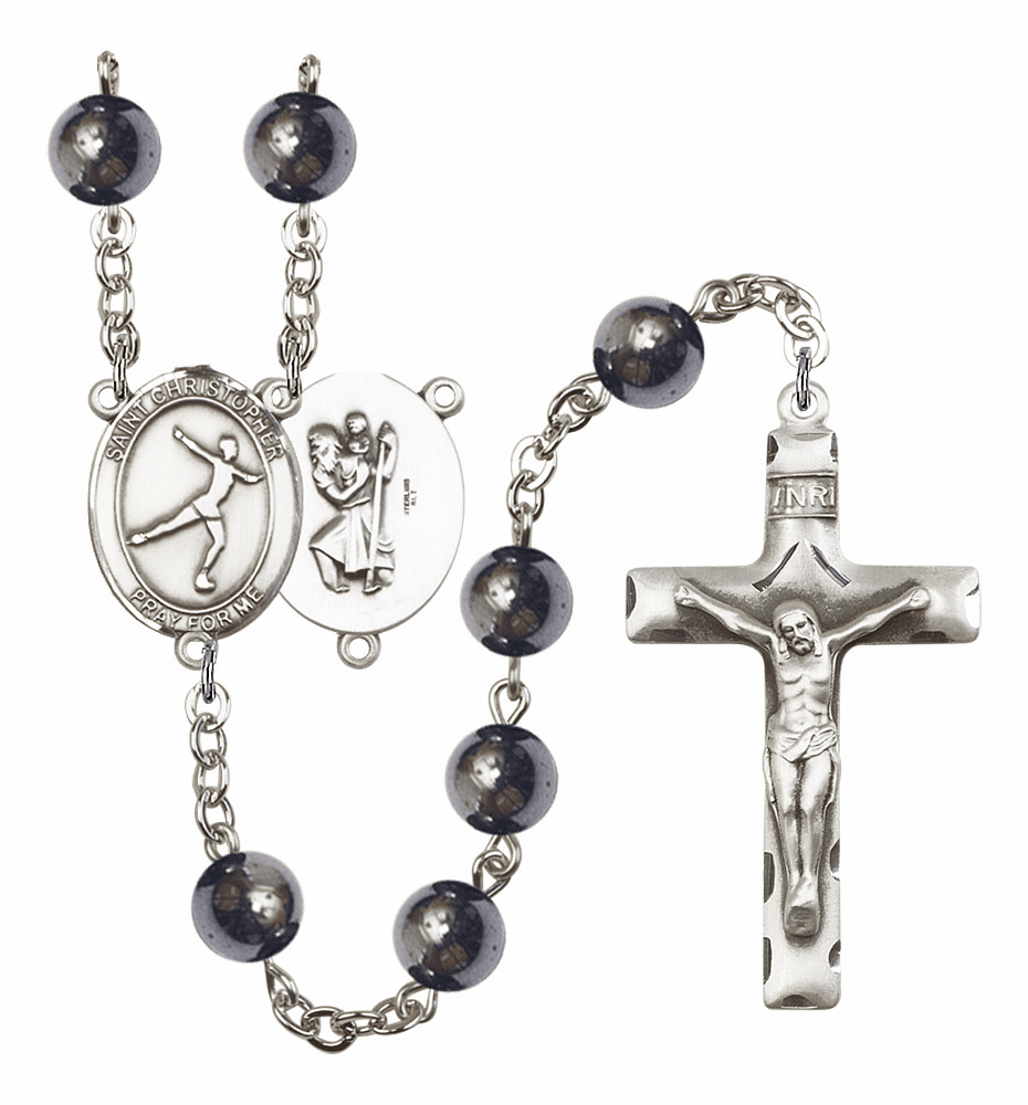 St Christopher Figure Skating Silver Plate 8mm Hematite Gemstone Prayer Rosary by Bliss