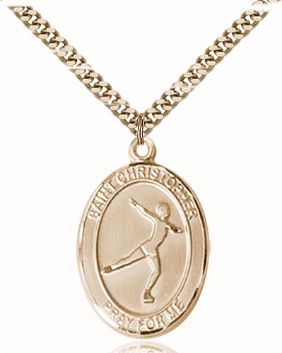 St Christopher Figure Skating Sports 14kt Gold-Filled Pendant Necklace by Bliss