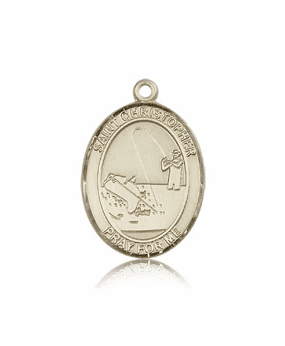 St Christopher Fishing 14kt Gold Sports Medal Pendant by Bliss