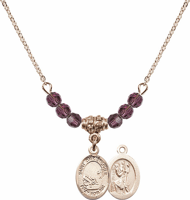 St Christopher Fishing 4mm Swarovski Crystal February Amethyst Necklace by Bliss Mfg
