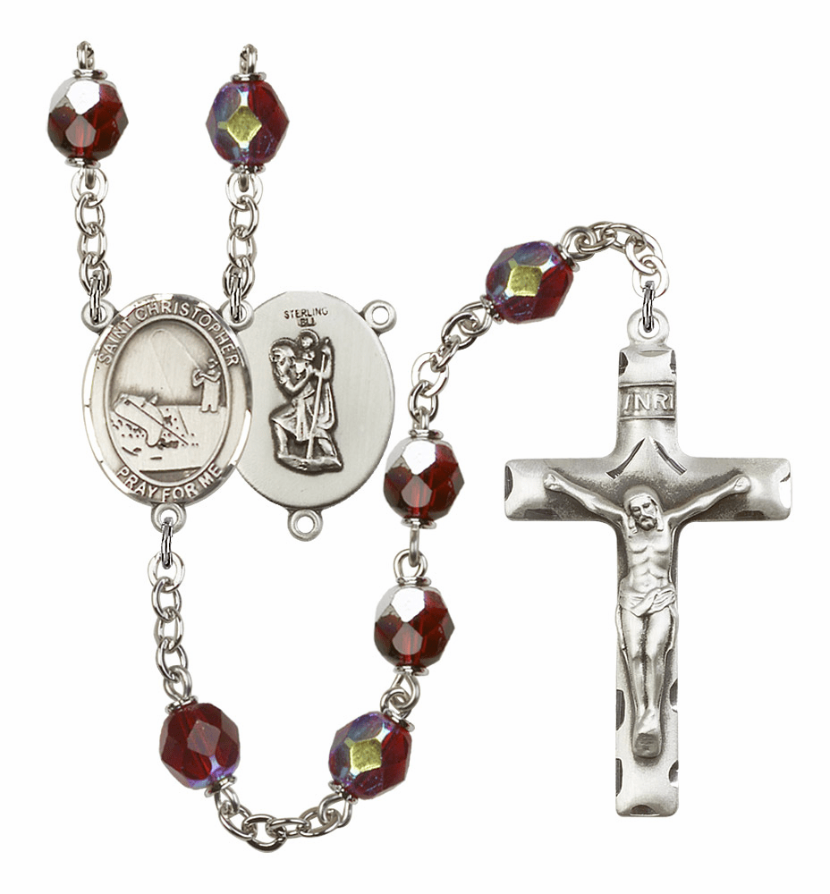 St Christopher Fishing 7mm Lock Link Aurora Borealis Garnet Beads Prayer Rosary by Bliss Mfg