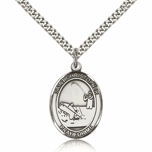 St Christopher Fishing Pewter Patron Saint Necklace by Bliss