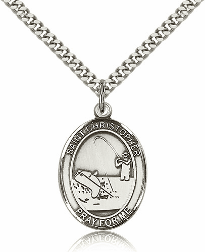St Christopher Fishing Silver-Filled Patron Saint Medal by Bliss Manufacturing