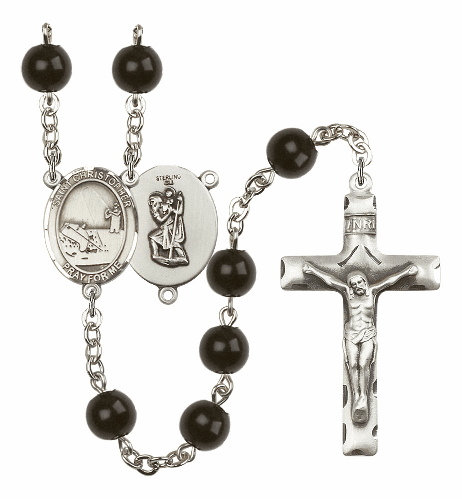 St Christopher Fishing Silver Plate 7mm Black Onyx  Prayer Rosary by Bliss